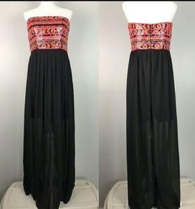 Gianni Bini strapless sequin tribal maxi dress